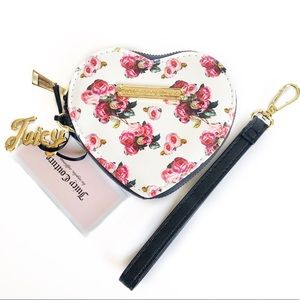Juicy Couture Floral Heart Wristlet Coin Purse